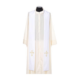 Clergy Stole with gold cross embroideren on both panels s5