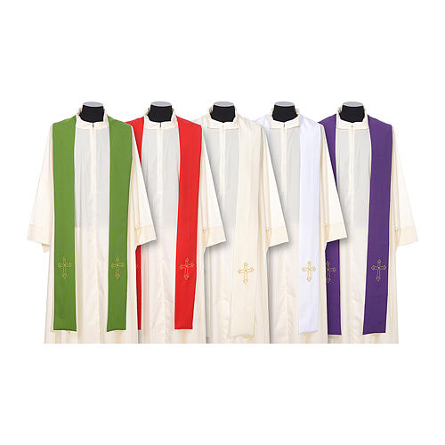 Clergy Stole with gold cross embroideren on both panels 1