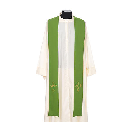 Clergy Stole with gold cross embroideren on both panels 2