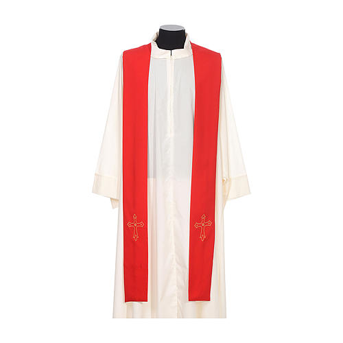 Clergy Stole with gold cross embroideren on both panels 3