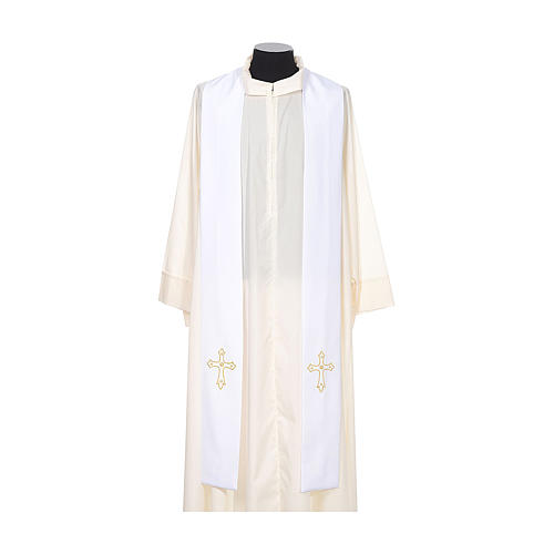 Clergy Stole with gold cross embroideren on both panels 5