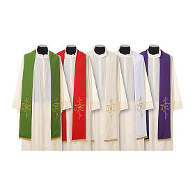 Priest Stole golden Cross JHS embroidery polyester s1