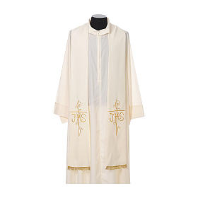 Priest Stole golden Cross JHS embroidery polyester s4