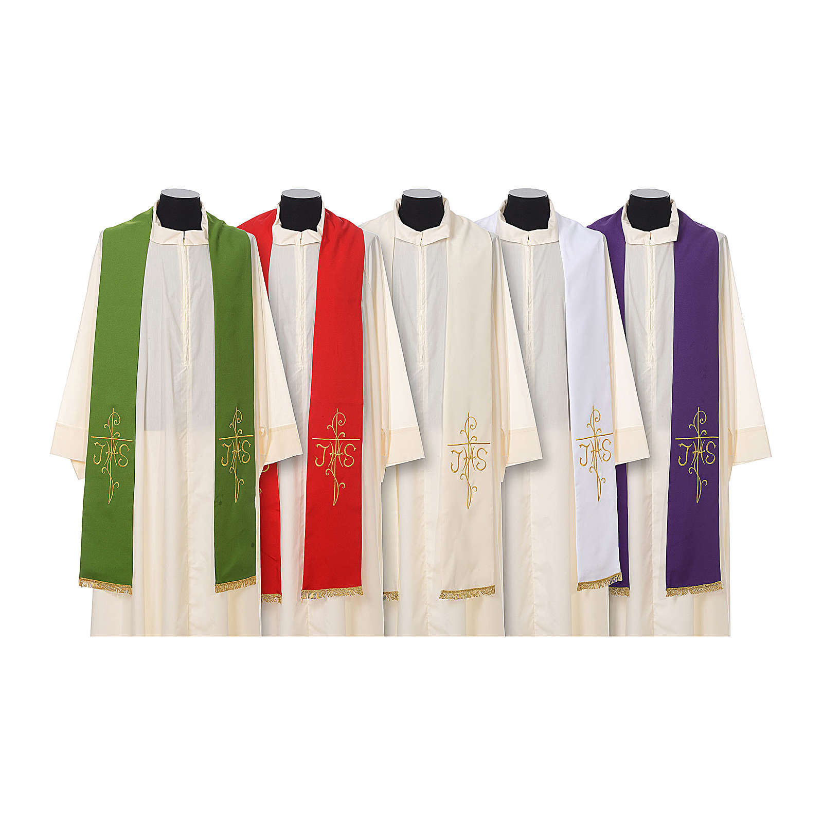 Estola sacerdotal bordado dorado cruz JHS doble cara poliéster 4