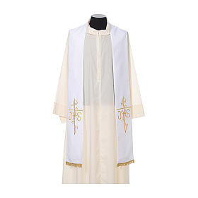 Estola sacerdotal bordado dorado cruz JHS doble cara poliéster s5