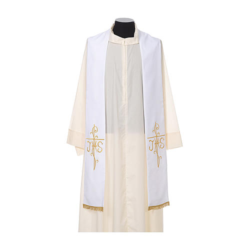 Estola sacerdotal bordado dorado cruz JHS doble cara poliéster 5