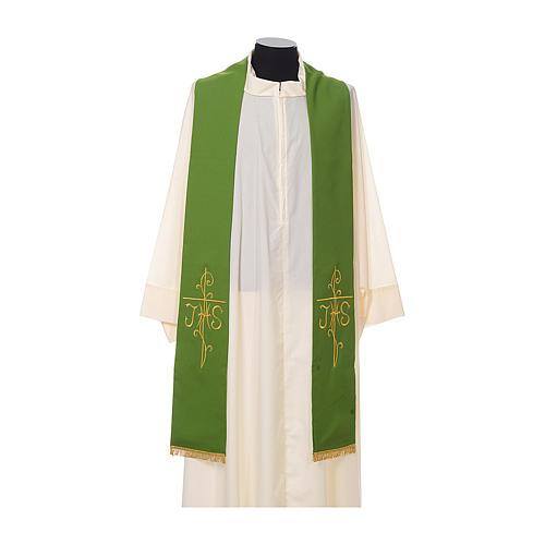 Stola sacerdotale ricamo dorato croce JHS due lati tessuto poliestere 2
