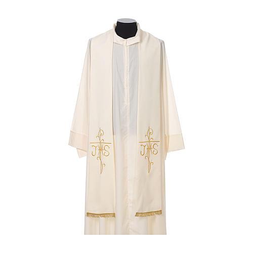 Stola sacerdotale ricamo dorato croce JHS due lati tessuto poliestere 4