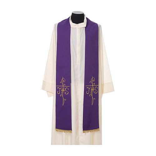 Stola sacerdotale ricamo dorato croce JHS due lati tessuto poliestere 6