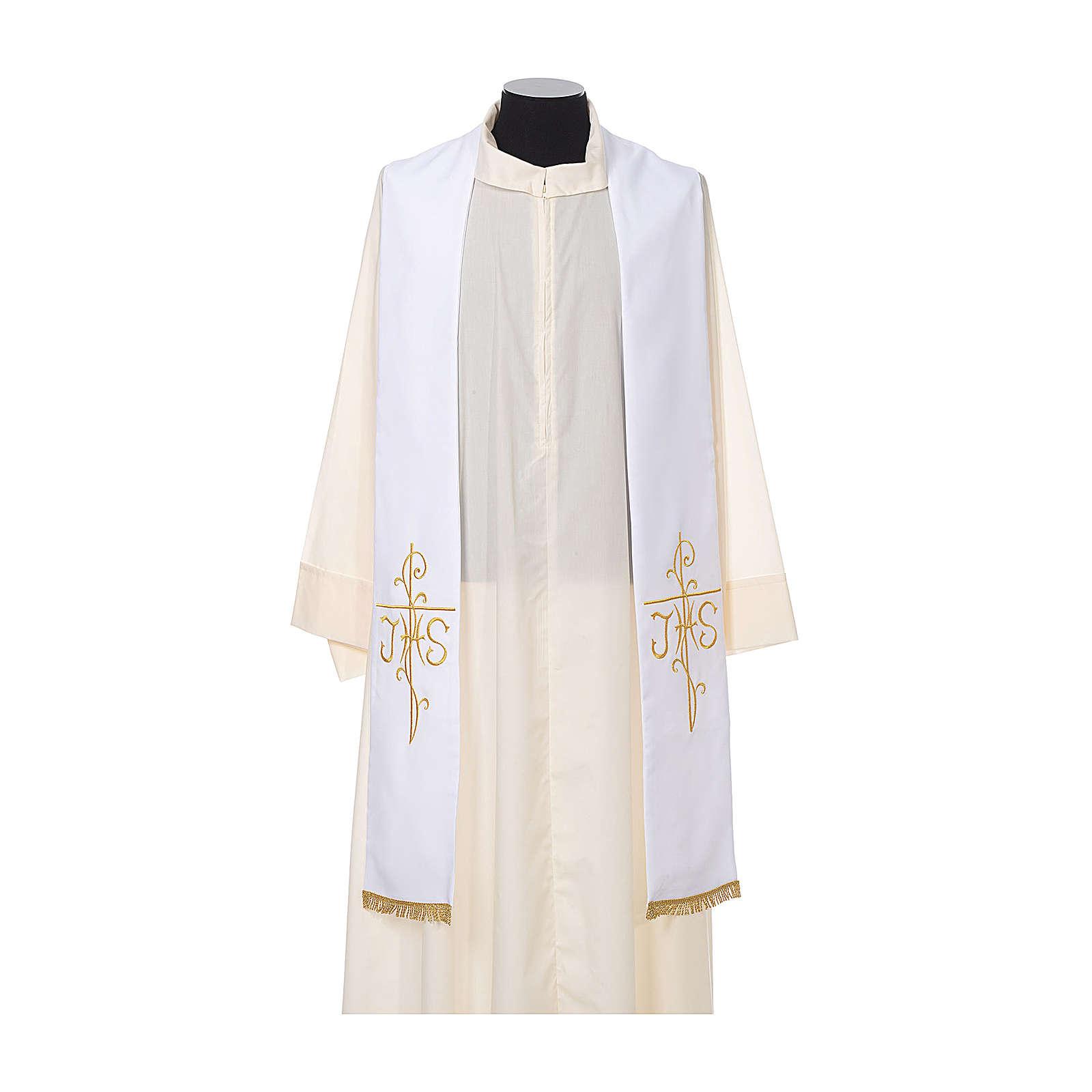 Stuła kapłańska haft złoty krzyż JHS dwustronny tkanina poliester 4