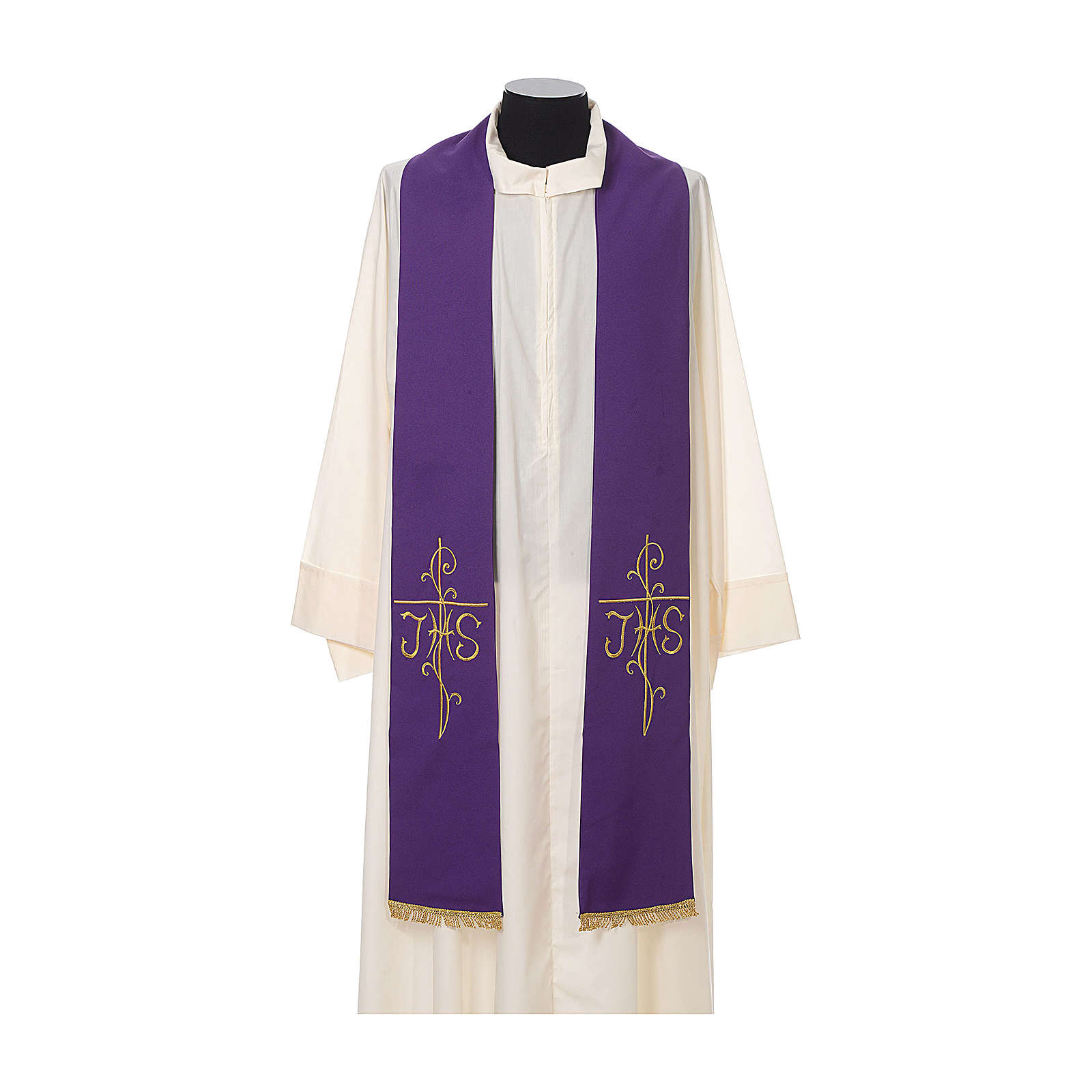 Estola sacerdotal bordado dourado cruz IHS dois lados tecido poliéster 4
