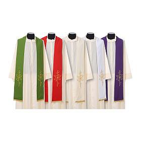 Estola sacerdotal bordado dourado cruz IHS dois lados tecido poliéster s1