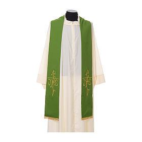 Estola sacerdotal bordado dourado cruz IHS dois lados tecido poliéster s2