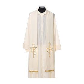 Estola sacerdotal bordado dourado cruz IHS dois lados tecido poliéster s4