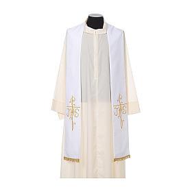 Estola sacerdotal bordado dourado cruz IHS dois lados tecido poliéster s5