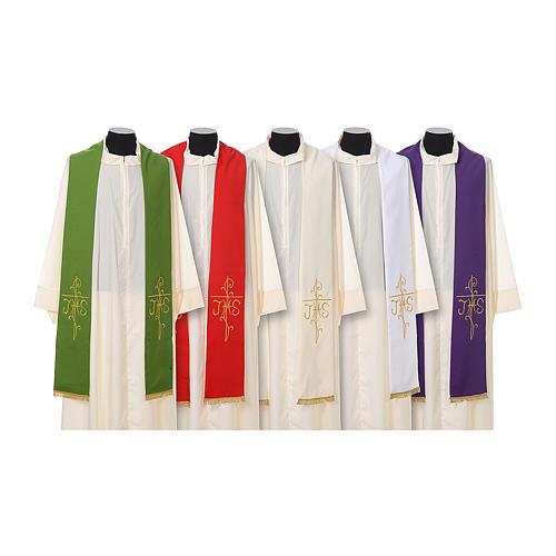 Estola sacerdotal bordado dourado cruz IHS dois lados tecido poliéster 1
