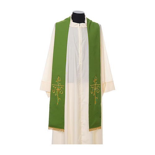 Estola sacerdotal bordado dourado cruz IHS dois lados tecido poliéster 2
