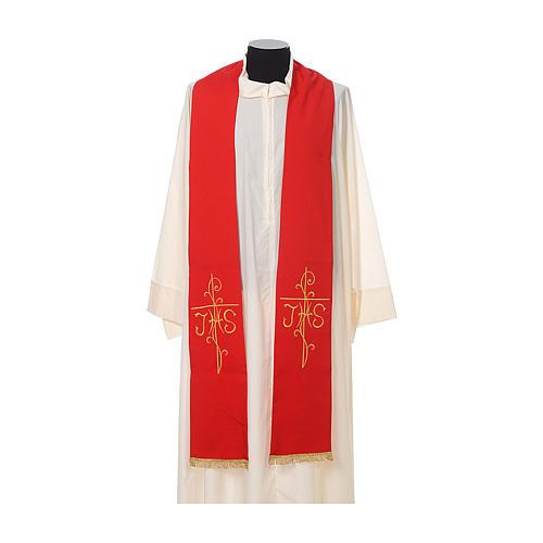 Estola sacerdotal bordado dourado cruz IHS dois lados tecido poliéster 3