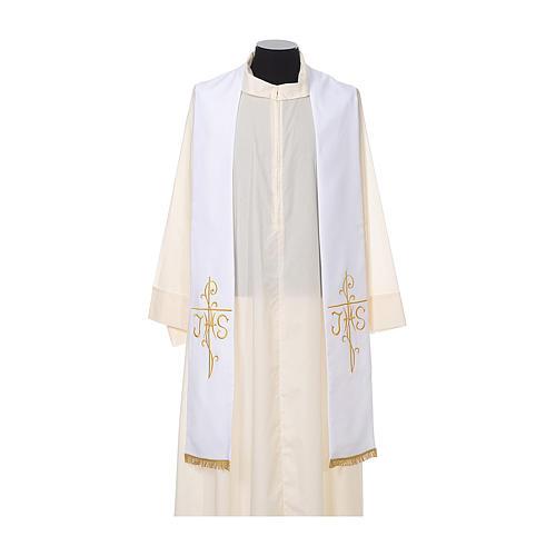 Estola sacerdotal bordado dourado cruz IHS dois lados tecido poliéster 5