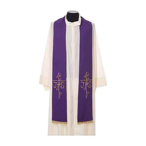 Priest Stole golden Cross JHS embroidery polyester 6