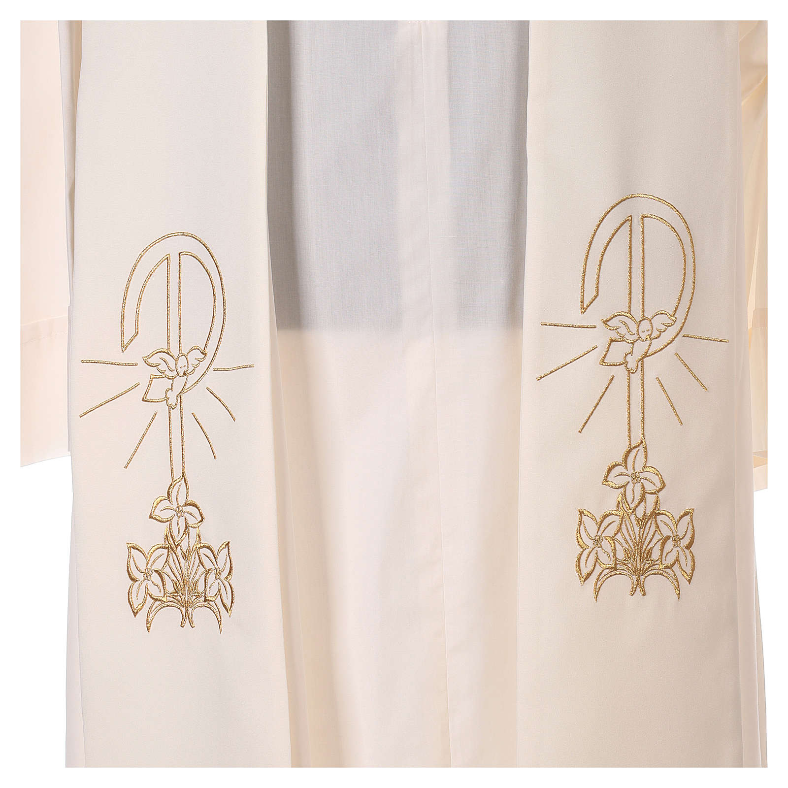 Priest Stole golden Peace Lilies embroidery polyester 4