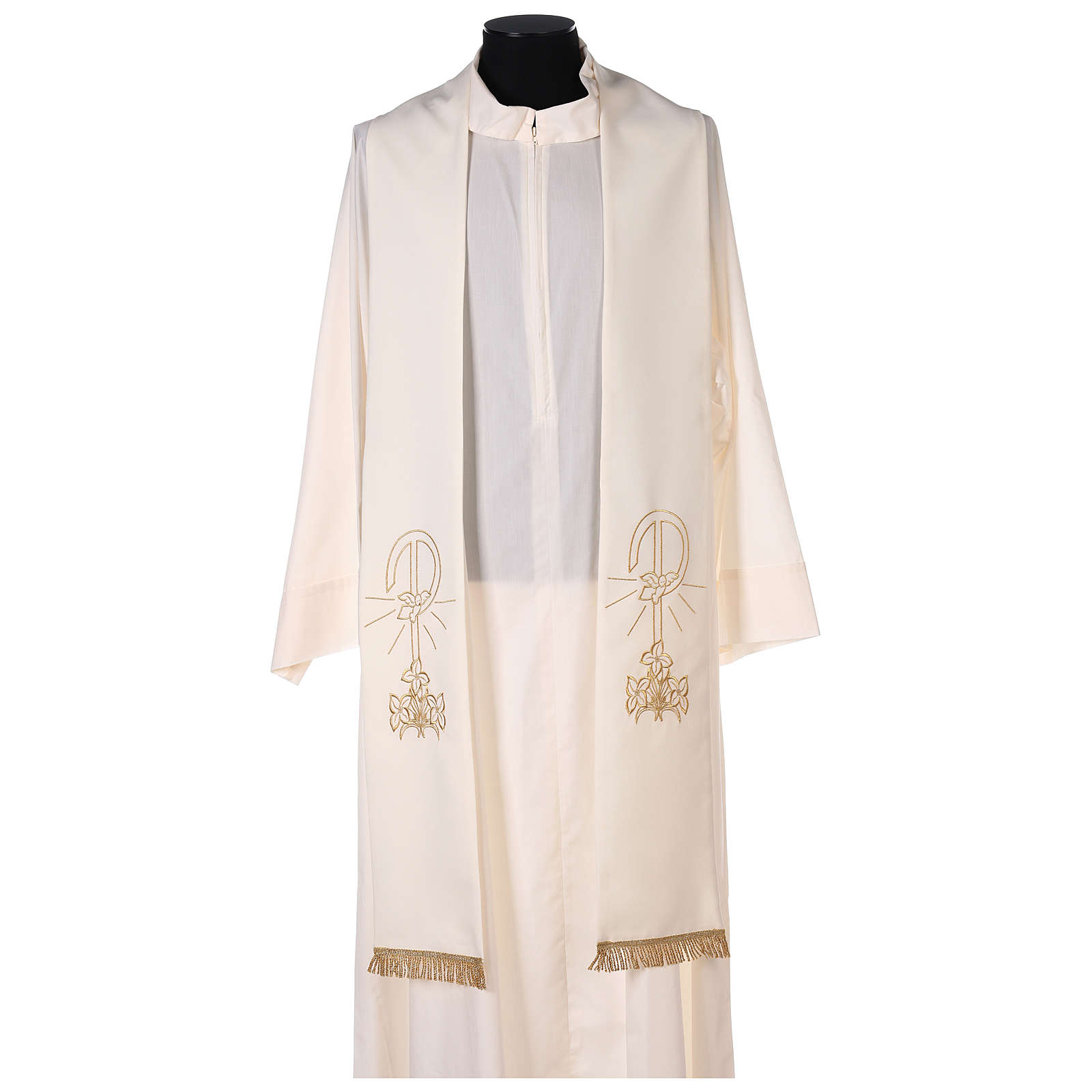 Estola sacerdotal bordado dorado Paz Lirios doble cara poliéster 4