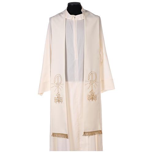 Estola sacerdotal bordado dorado Paz Lirios doble cara poliéster 1