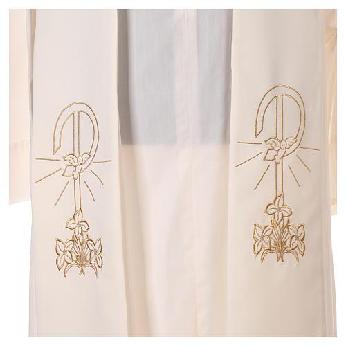 Estola sacerdotal bordado dorado Paz Lirios doble cara poliéster 2