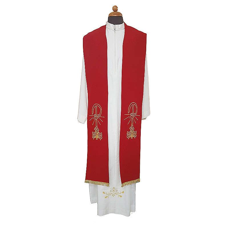 Stola sacerdote ricamo dorato Pace Gigli su due lati polistere 4