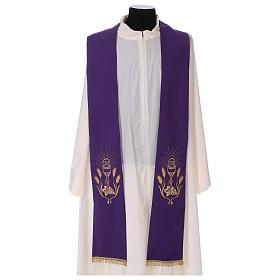 Estola bordado cáliz uvas espigas oro y plata doble cara Vatican s1
