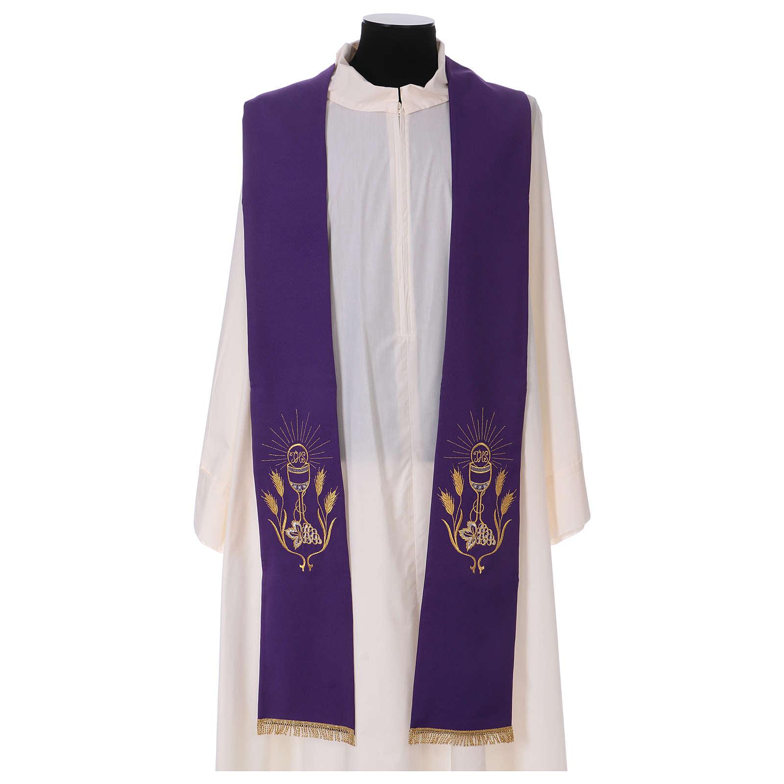 Étole broderie calice raisin épis or et argent sur deux côtés Vatican 4