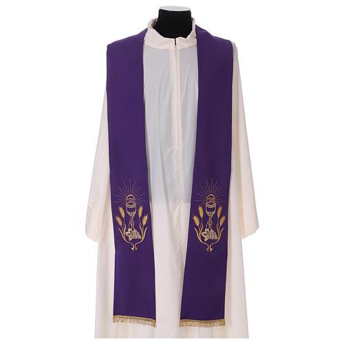 Étole broderie calice raisin épis or et argent sur deux côtés Vatican 1