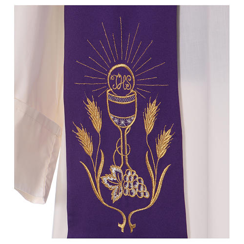 Étole broderie calice raisin épis or et argent sur deux côtés Vatican 2