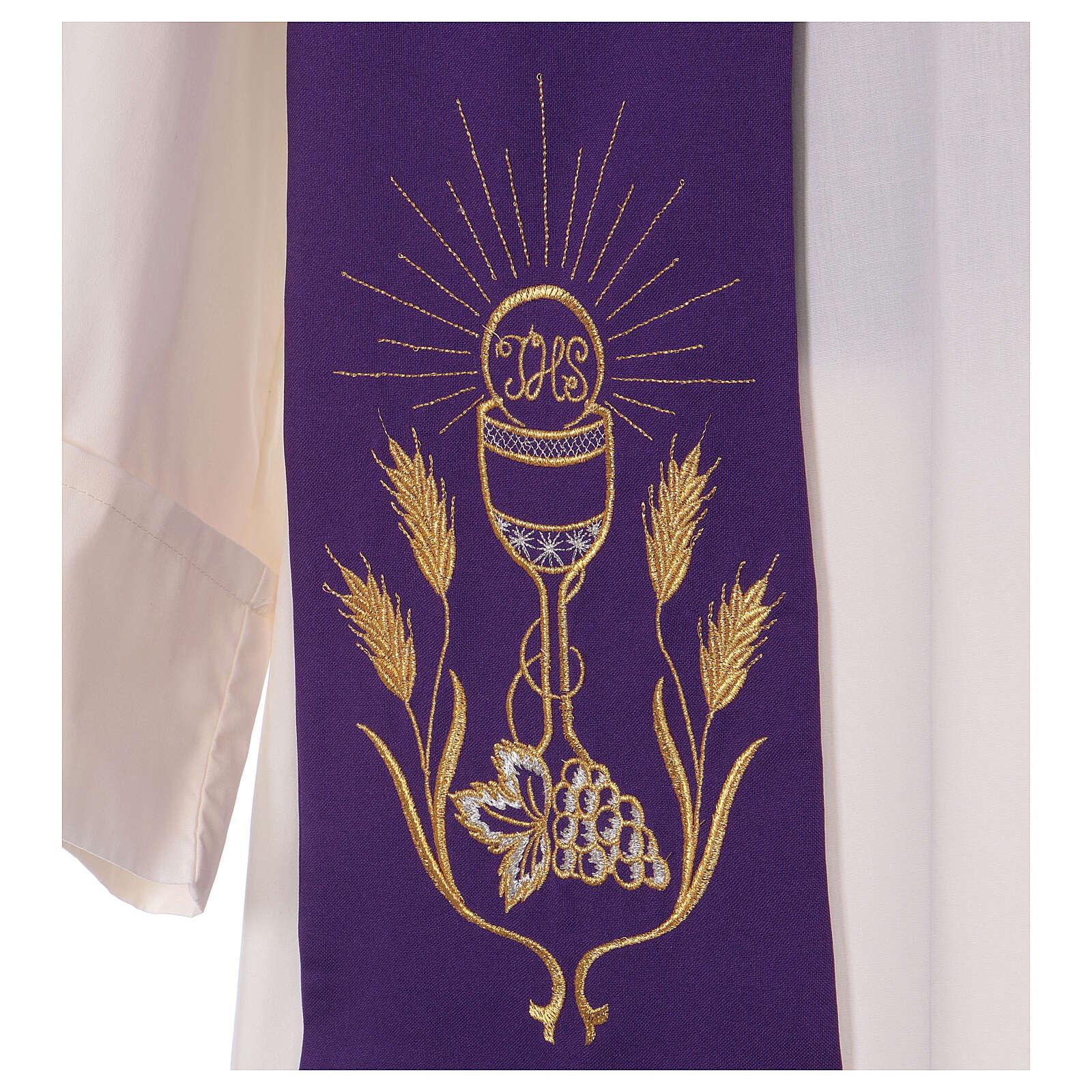 Stola ricamo calice uva spighe oro e argento su due lati Vatican 4