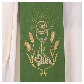 Stola ricamo calice uva spighe oro e argento su due lati Vatican s2