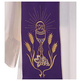 Stola ricamo calice uva spighe oro e argento su due lati Vatican s4