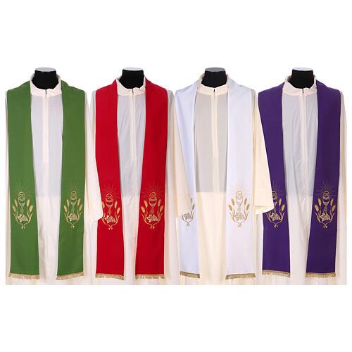 Stola ricamo calice uva spighe oro e argento su due lati Vatican 1