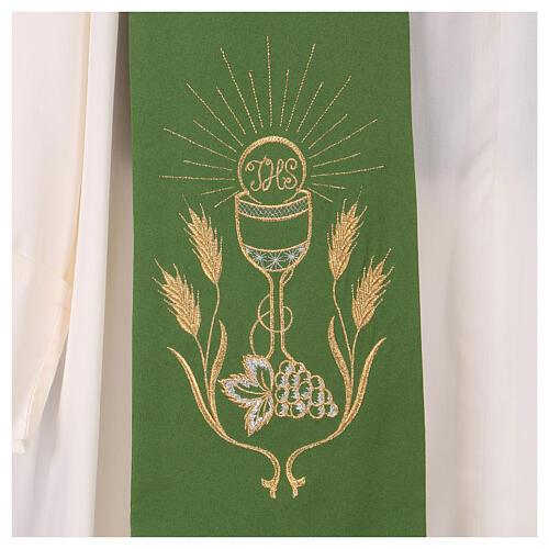 Stola ricamo calice uva spighe oro e argento su due lati Vatican 2