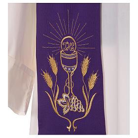 Stuła haft kielich winogron kłosy złoty i srebrny dwustronny Vatican s2