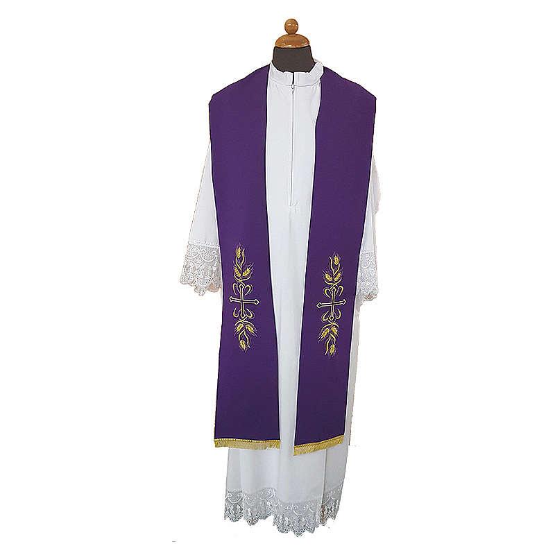 Étole prêtre broderie dorée croix épis sur deux côtés polyester 4