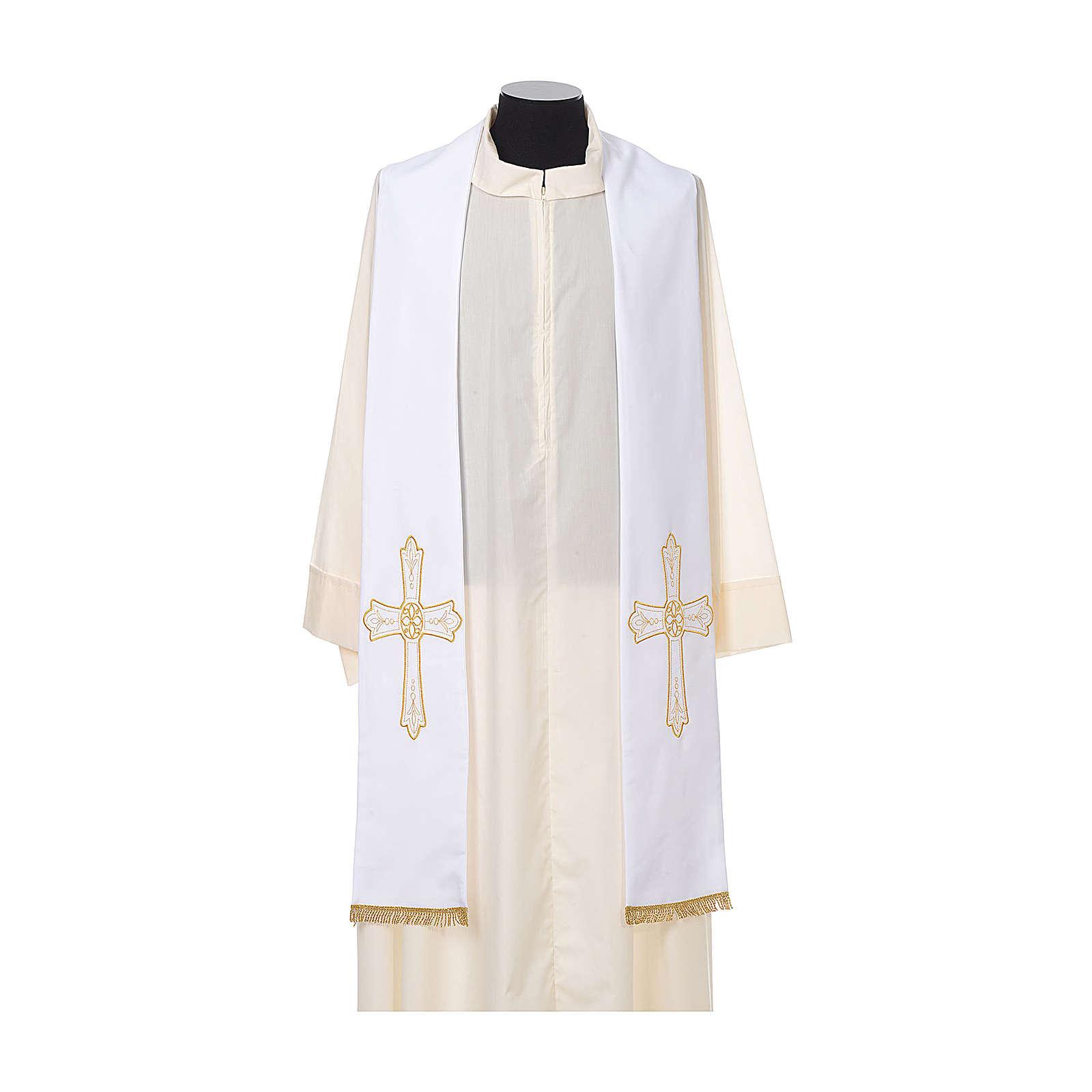 Priesterstola goldene Blumenstickerei 100% Polyester 4