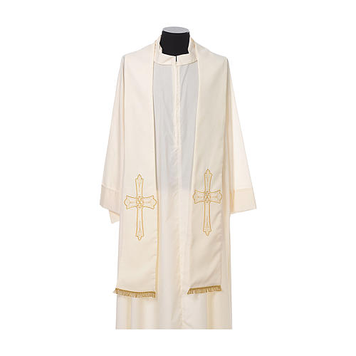 Priest Stole golden Cross embroidery 100% polyester 4