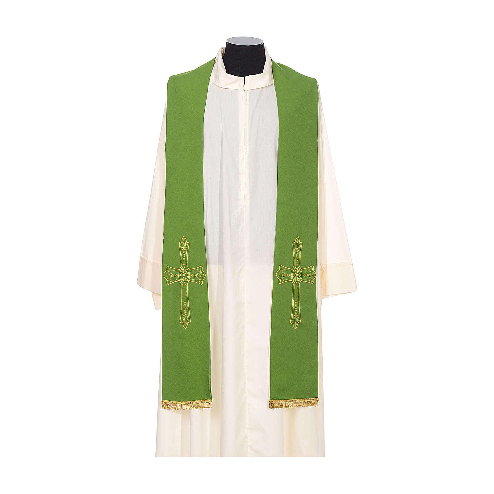 Étole prêtre broderie dorée croix sur deux côtés polyester 4