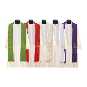 Étole prêtre broderie dorée croix sur deux côtés polyester s1