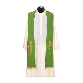 Étole prêtre broderie dorée croix sur deux côtés polyester s2