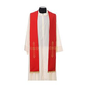 Étole prêtre broderie dorée croix sur deux côtés polyester s3