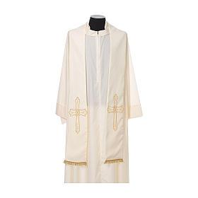 Étole prêtre broderie dorée croix sur deux côtés polyester s4