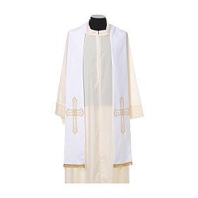 Étole prêtre broderie dorée croix sur deux côtés polyester s5