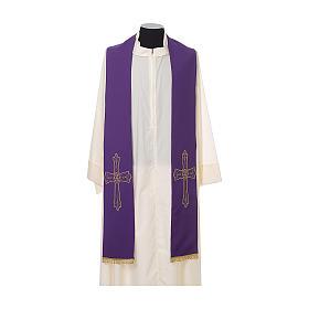 Étole prêtre broderie dorée croix sur deux côtés polyester s6