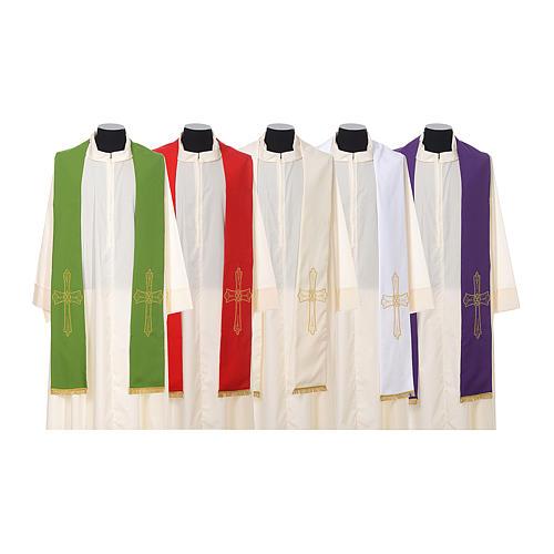 Étole prêtre broderie dorée croix sur deux côtés polyester 1